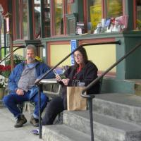 Relaxing in front of McCuskers Market