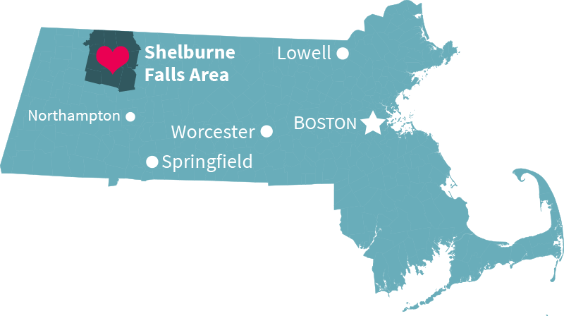 Map of Massachusetts and the Shelburne Falls Area